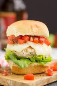 Bruschetta turkey burger slider on cutting board