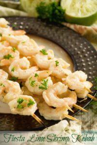 Fiesta lime shrimp kebabs on plate