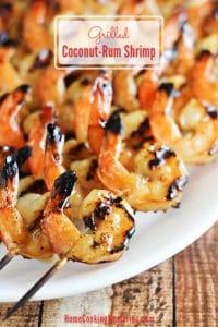Grilled coconut rum shrimp skewers on plate