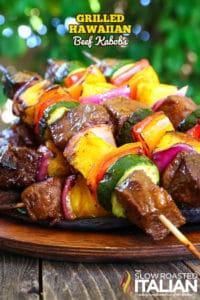 Grilled hawaiian beef kabobs on plate