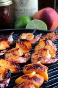 Grilled shrimp peach kabobs on the grill