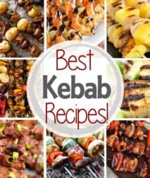 Best kebab recipes text with background of eight kebab pictures