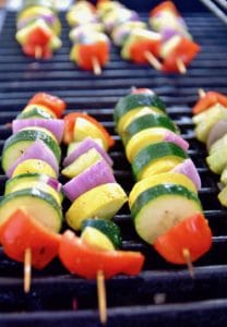 Vegetable kebabs with cilantro chimichurri on the grill