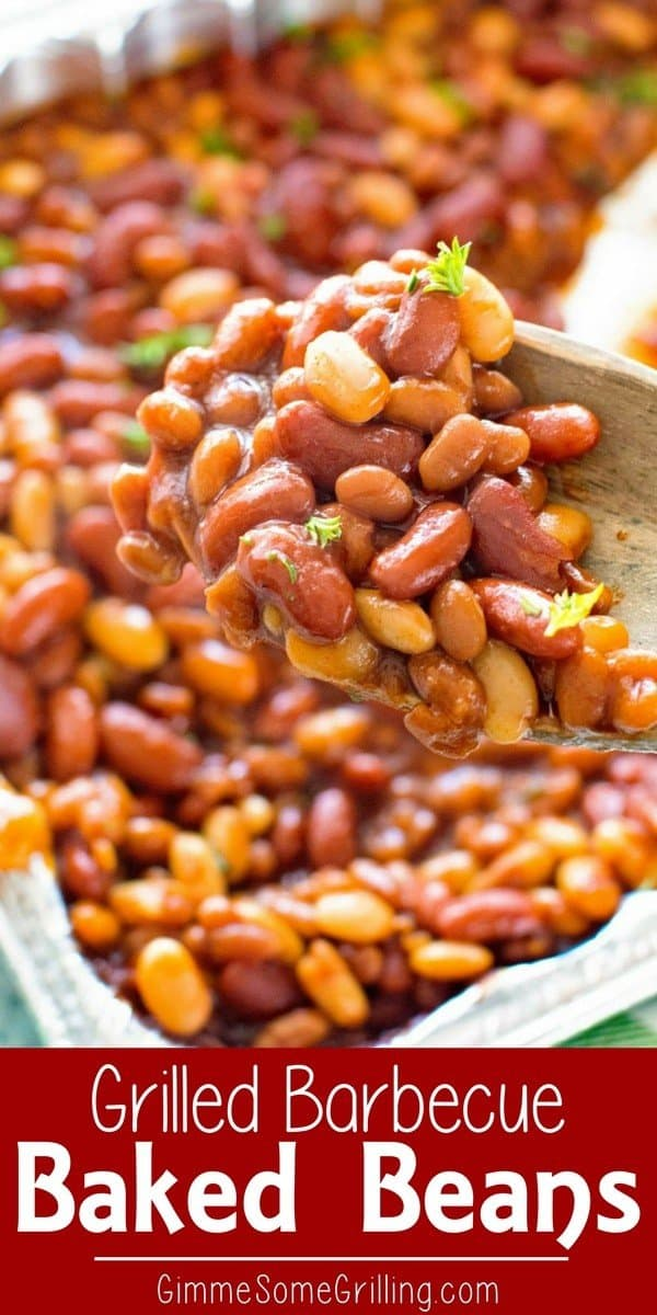 These Easy BBQ Baked Beans On the Grill are Loaded with three different types of beans! The addition of barbecue sauce to these grilled baked beans takes them up a notch. If you are looking for an easy grilled side dish this is your answer! #grill #grilled #bakedbeans #sidedish