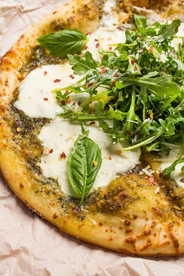 Grilled Pesto Pizza with Fresh Mozzarella