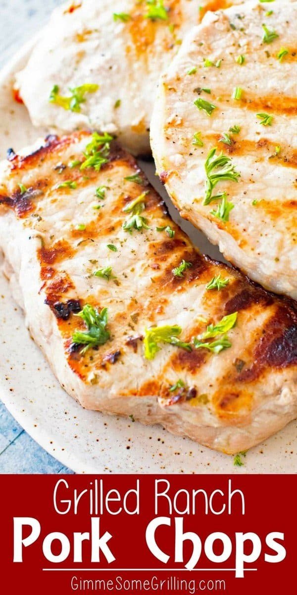 Grilled Ranch Pork Chops ~ Tender Juicy Ranch Pork Chops on the Grill! These Easy Grilled Pork Chops Only Require Three Ingredients and Twenty Minutes! They are the Perfect Grilling Recipe for Busy Nights! via @gimmesomegrilling