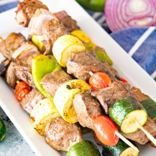 Marinated Grilled Vegetable and Steak Kabobs Plate