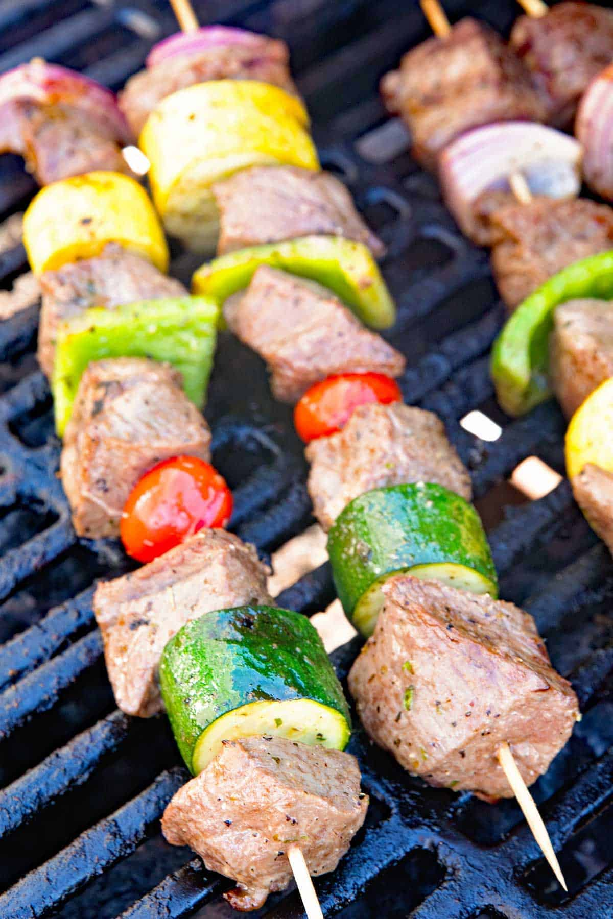 Marinated Grilled Vegetable and Steak Kabobs Grilled