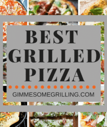 Best Grilled Pizza collage, with background of eight pizza photos