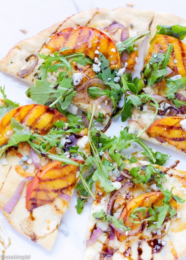 Grilled Peach Arugula and Blue Cheese Pizza