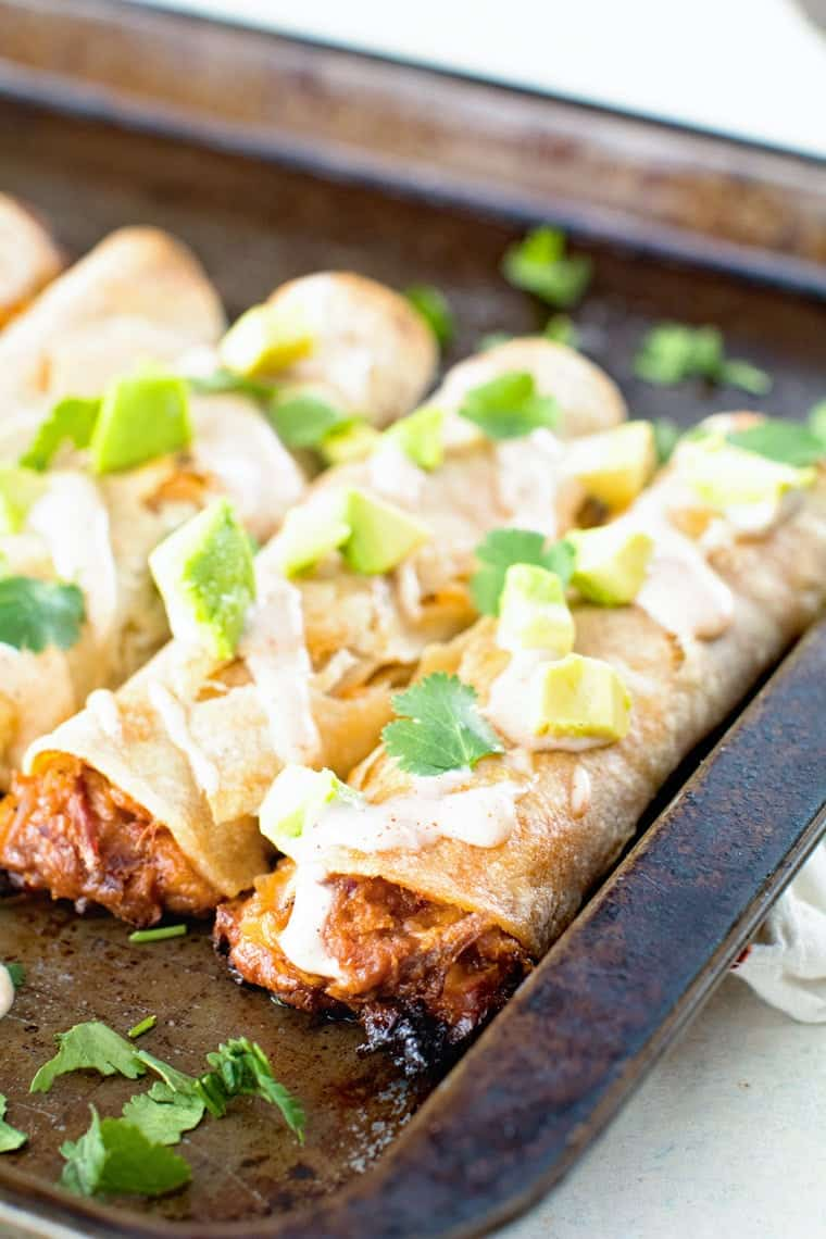 Baked taquitos on sheet pan