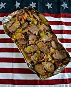 Grilled pork nachos tin foil