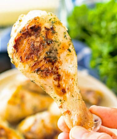 Grilled Ranch Chicken Dumsticks in Hand