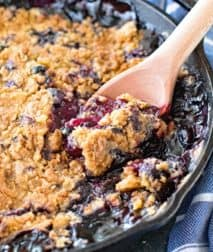 Blueberry Lemon Cobbler in Cast Iron Skillet