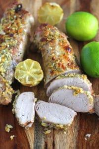 Garlic lime pork loin on cutting board