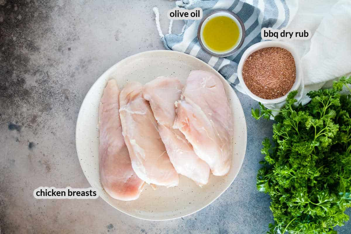 Overhead Image of Smoked Chicken Breasts Ingredients