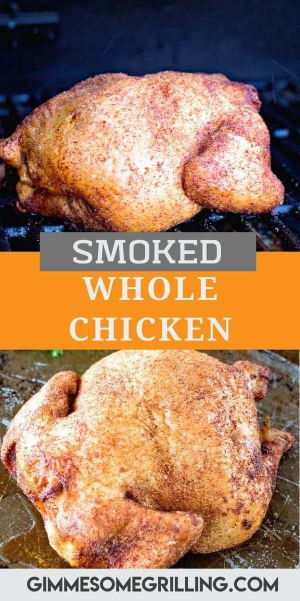 Tender, juicy Smoked Whole Chicken made on your smoker is the best dinner that's quick and easy. Simply rub your chicken seasoning on the chicken and smoke it low and slow. The chicken is so flavorful and juicy. Perfect for a weeknight dinner or meal prep! #smoked #chicken via @gimmesomegrilling