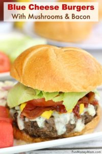 Blue cheese burger with mushrooms and bacon a plate