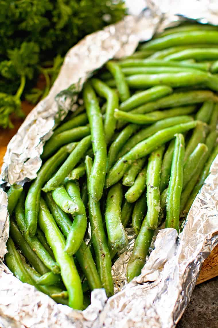 Grilled Green Beans Foil Packets + VIDEO
