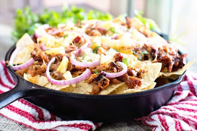 Pulled Pork Nachos in skillet