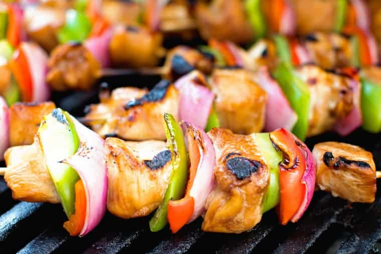 Asian Chicken Skewers on Grill