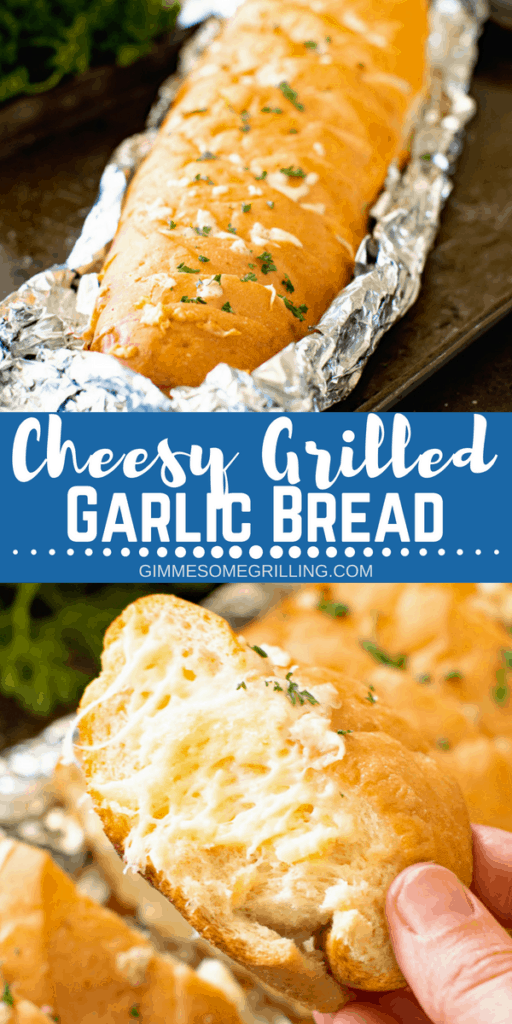 Cheesy Grilled Garlic Bread Pinterest Image 1