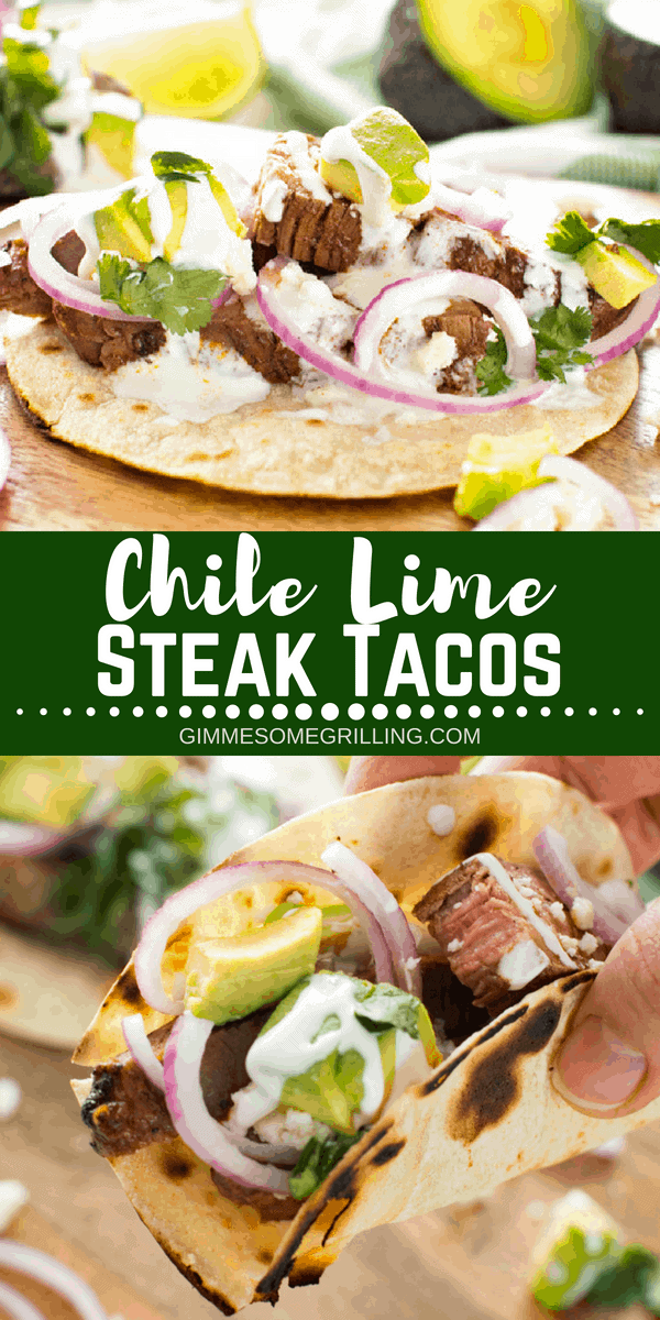 Tender, juicy flank steak marinaded in lime juice and then rubbed with spices. Then grilled to medium rare and sliced for these delicious Chile Lime Steak Tacos in a crisp corn tortilla! #steak #taco #tacos #chile #lime #chilelime #flanksteak #mexican #mexicanfood #grill #grilling #grilled #recipe #easy #beef #julieseatsandtreats #dinner #easydinner via @gimmesomegrilling