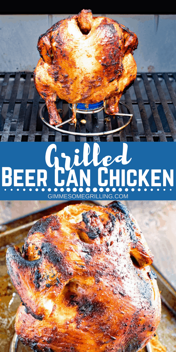 This delicious, juicy Beer Can Chicken on your grill is so easy! Plus, it's great to make on the weekend and use it for meal prep too! Fire up your gas grill and make this Beer Can Chicken today! #chicken #wholechicken #beer #beercan #beercanchicken #recipe #grill #grilling #gasgrill #easyrecipe #grilled #gimmesomegrilling