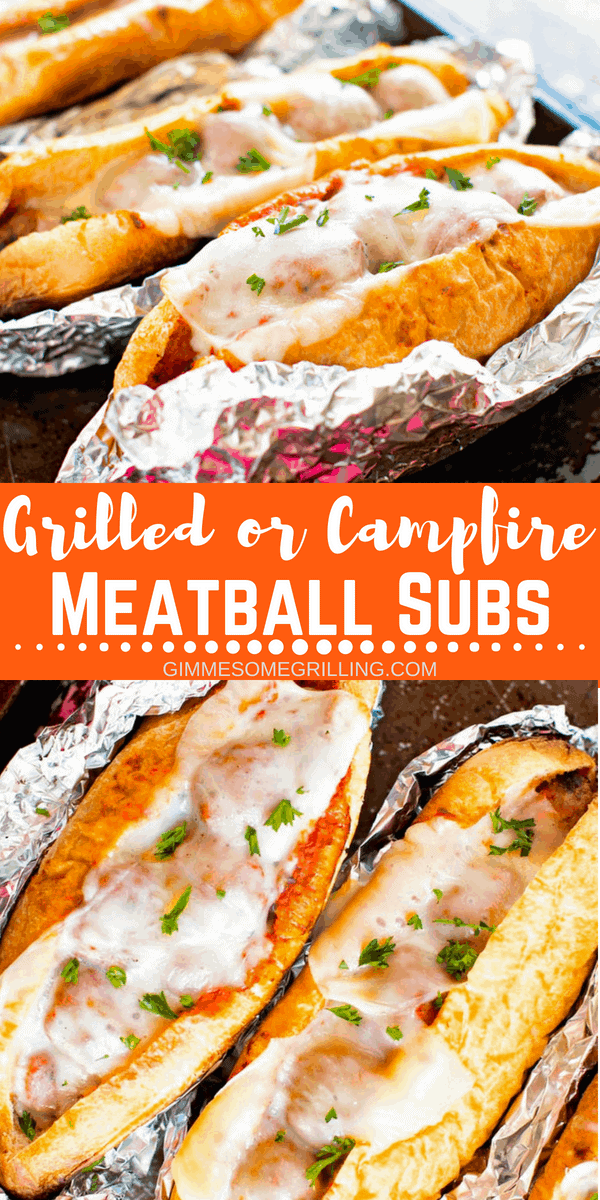 Meatball Subs are a great quick and easy dinner recipe! These Meatball Subs are wrapped in foil and then toasted on the grill or over the campfire for a delicious warm sub with crunchy bread and melted cheese! #meatball #subs #meatballsubs #grilled #grill #grilling #recipe #easy #easyrecipe #dinner #dinneridea #dinnerrecipe #julieseatsandtreats