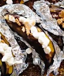 Grilled S'mores Banana Boats in foil