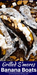 Grilled S'mores Banana Boats Pinterest Image