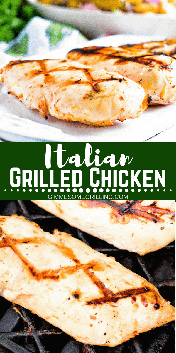 These quick, juicy grilled chicken breasts are marinated in Italian dressing for a delicious dinner recipe. Italian Grilled Chicken Breasts are the perfect easy weeknight grilling recipe everyone is sure to enjoy! #grill #grilling #recipe #easy #grillrecipe #easyrecipe #chicken #chickenbreast #marinated #italian #gimmesomegrilling via @gimmesomegrilling