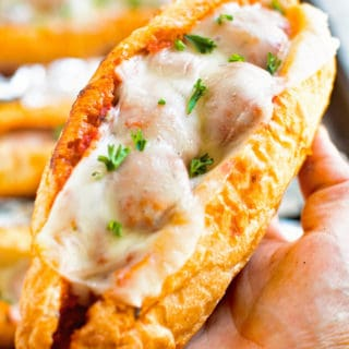 Grilled Meatball Subs in Hand