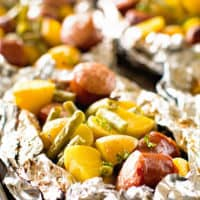 Foil Packet with sausage green beans potatoes