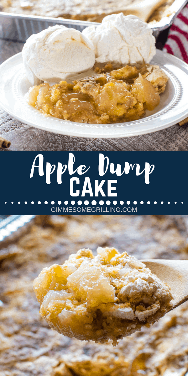 This quick and easy apple dessert is made on your grill for easy clean up! You only need FOUR ingredients and you have an amazing Grilled Apple Dump Cake. It's a perfect dessert for camping! #gimmesomegrilling #apple #appledessert #applecake #dumpcake #dumpdessert #appledumpcake #grill #grilling #grilled #camping #campingrecipe via @gimmesomegrilling
