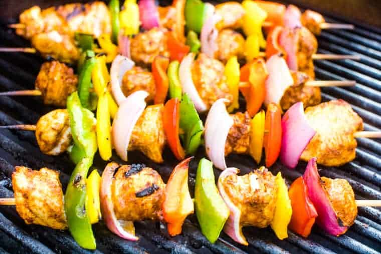 Chipotle Chicken Skewers on Grill
