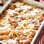 Cinnamon Apple Monkey Bread in a foil pan for camping breakfast