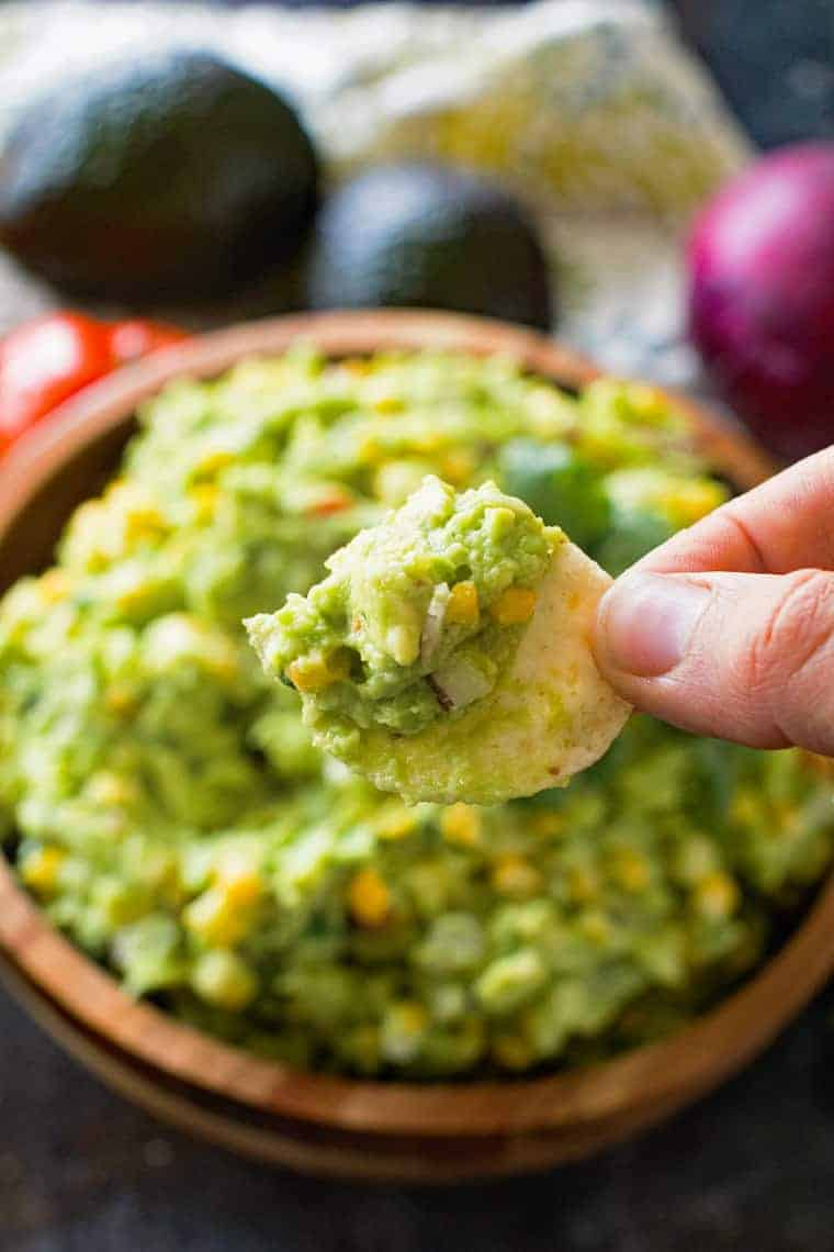 Guacamole with corn on chip