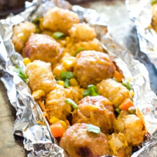 Tater Tot Meatball Foil Packet Meals on sheet pan