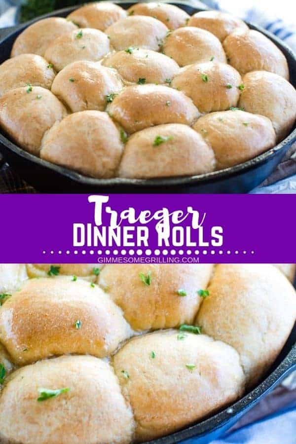 Soft, pillowy dinner rolls made on your electric smoker! These are the perfect side for your holiday meal all made on your Traeger! Bake these pull apart rolls on your wood fired grill and then drizzle them with butter. They will be the first thing gone! #traeger #dinnerrolls