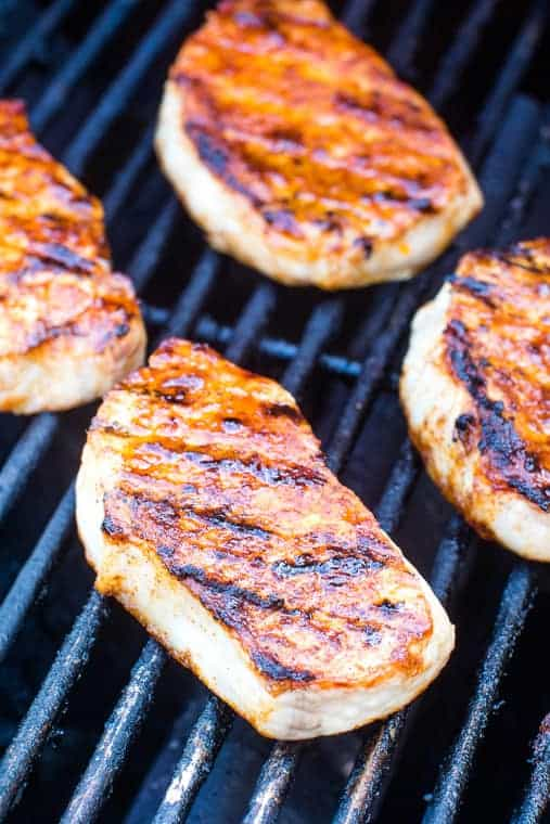 Southwestern Pork Chops on grill