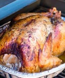Turkey on Smoker in foil pan