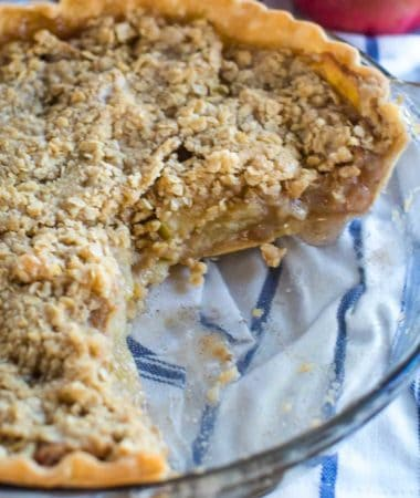 Smoked Apple Crumble Pie with piece missing