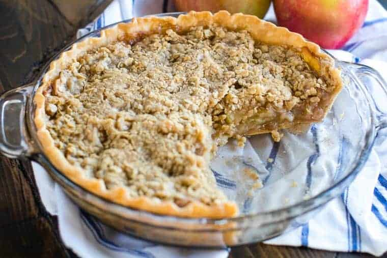 Traeger Apple Pie in glass dish