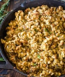 Cast iron skillet full of smoked stuffing