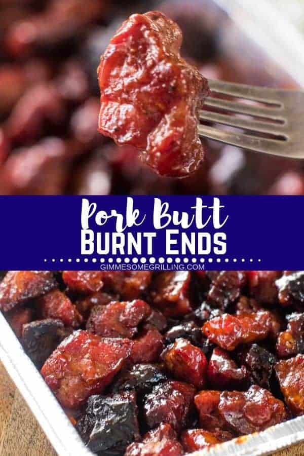 Pork Burnt Ends on your Traeger today! Rubbed with a delicious sweet bbq rub, smoked on your electric pellet grill, basted with barbecue sauce and smoke again. They are the perfect appetizer or main dish recipe on your smoker! #burntends #traeger via @gimmesomegrilling