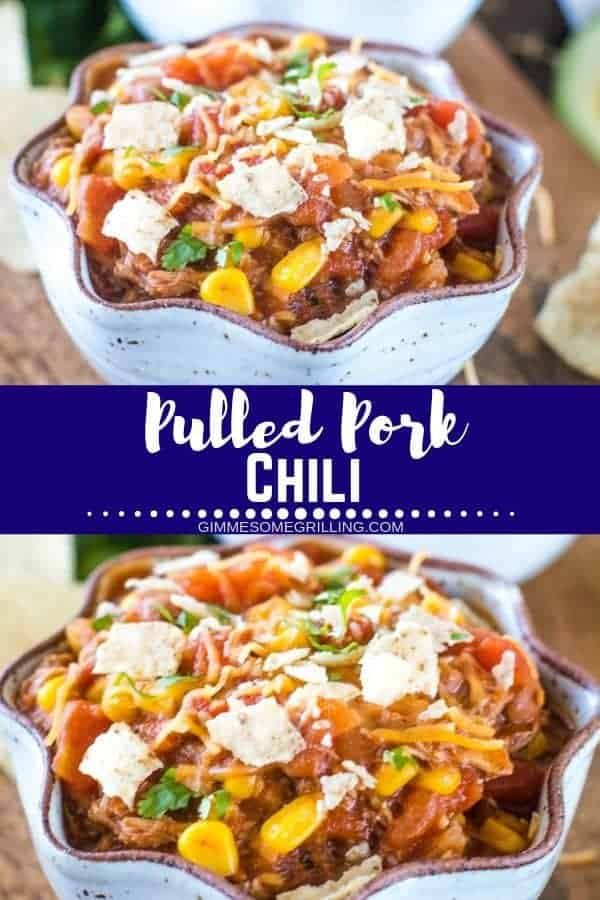 This Pulled Pork Chili is the perfect recipe to use it up leftover pulled pork! This recipe is hearty, delicious and so easy to make. You'll have it on the table for dinner in 30 minutes. The perfect weeknight meal. It's loaded with flavor from pulled pork, diced tomatoes, chili beans, chili powder, cumin and onions! #chili #pulledpork via @gimmesomegrilling