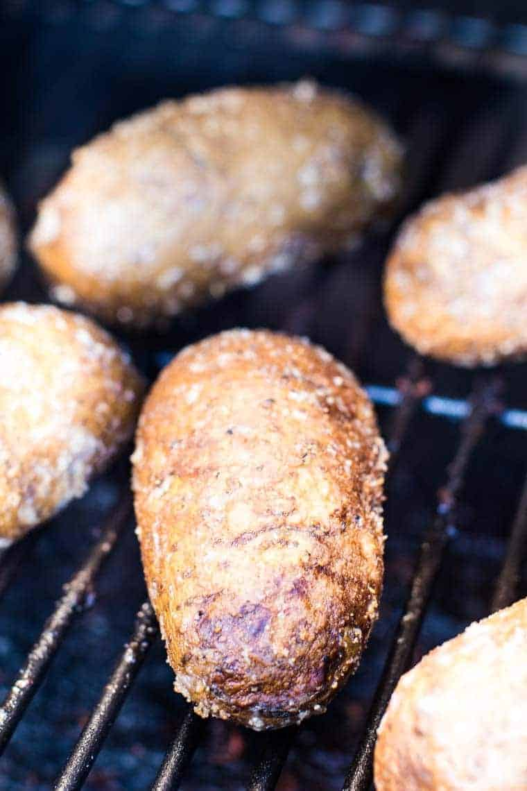 Traeger Baked Potatoes on smoker