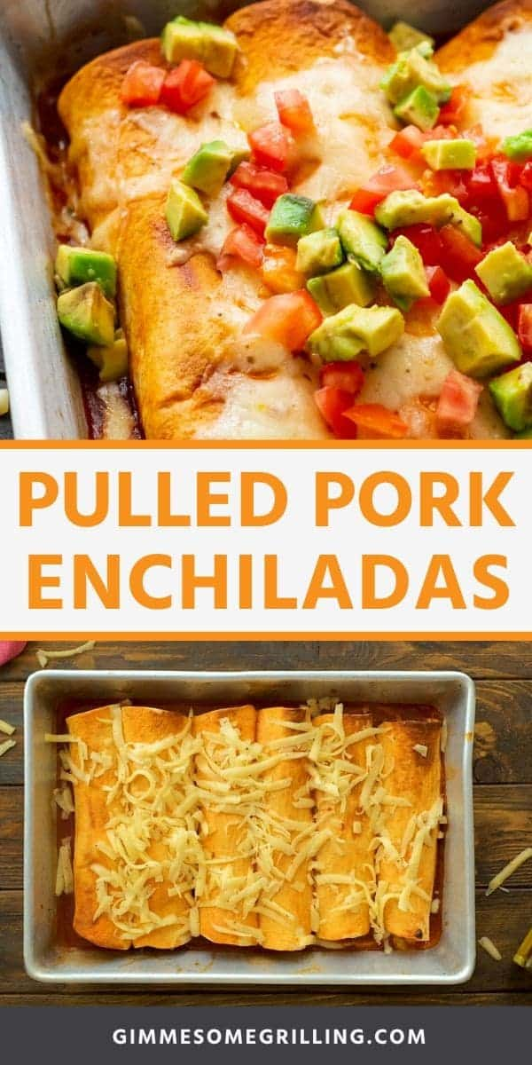 Pulled Pork Enchiladas are quick and easy! Full of flavor with simple ingredients. They are the perfect dinner recipe using leftover pulled pork. #enchiladas #pulledpork via @gimmesomegrilling