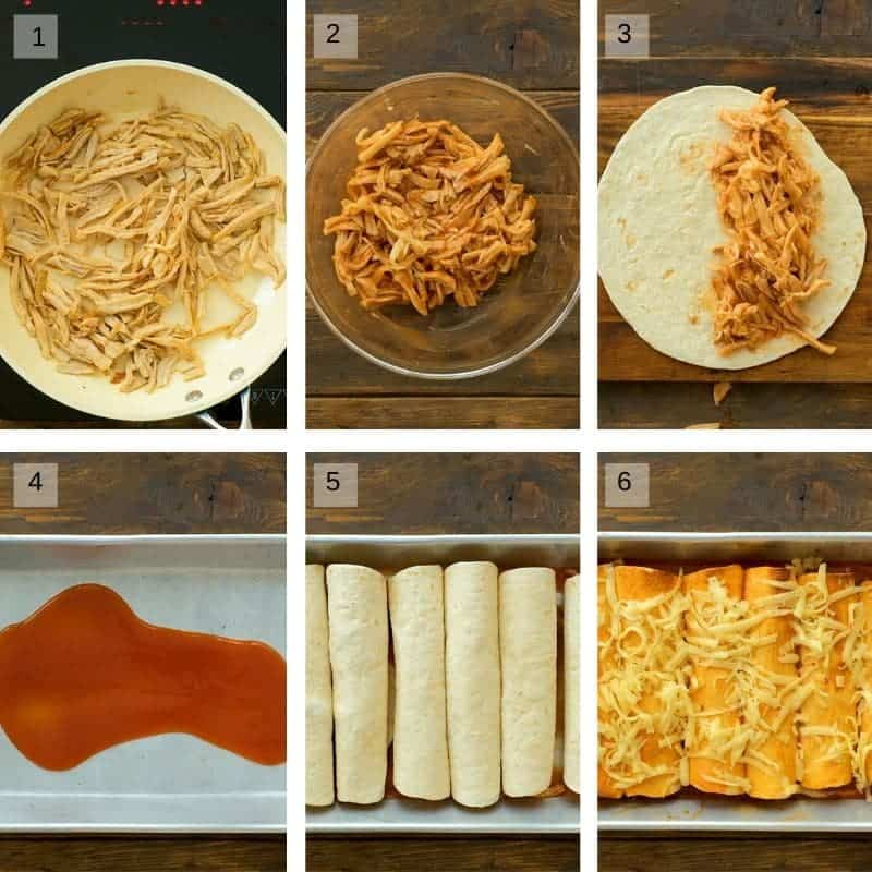 Six image sequence of how to make enchiladas with pulled pork, tortillas, a pan, and sauce